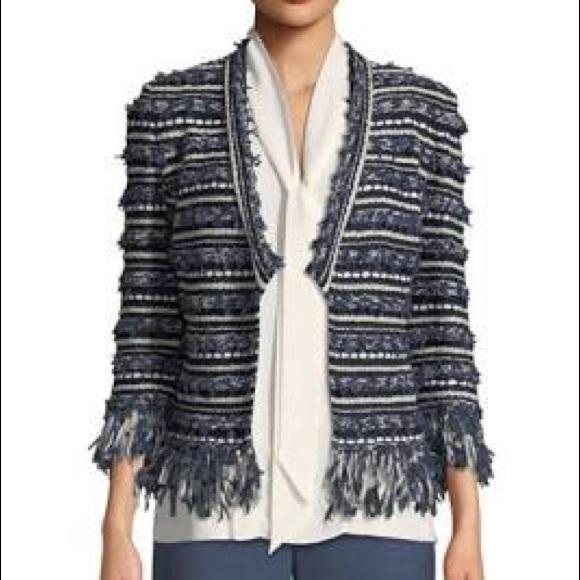 St. John Jackets & Blazers - St. John Fringe Knit Blazer White Blue Striped L